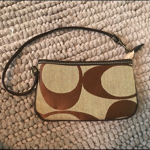 Coach brown and beige wristlet